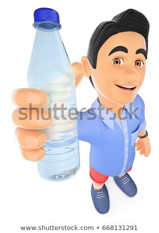 ストックフォト: 3D · 若い男 · ショートパンツ · ボトル · 水 · 若者