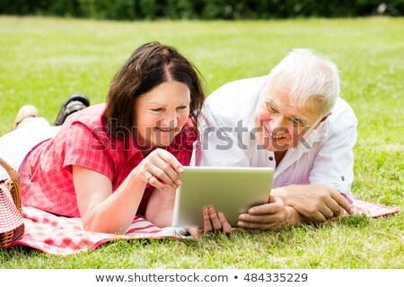Couple lying on picnic blanket and using digital tablet Stock photo © wavebreak_media
