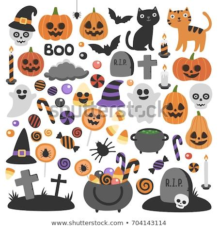 Pumpkin vector icons set, Halloween scary faces design set, horror decoration Stock photo © RedKoala