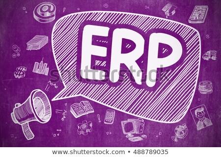ERP - Cartoon Illustration on Purple Chalkboard. Stock photo © tashatuvango
