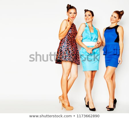 many girlfriends hugging celebration on white background, smilin Stock photo © iordani
