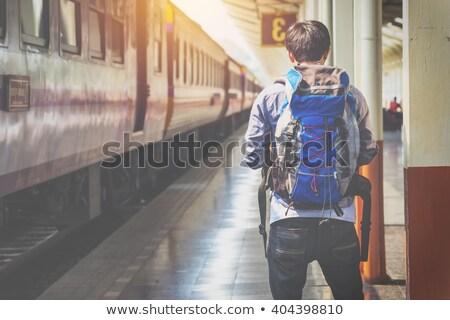 Menino espera estação de trem brinquedo medo transporte Foto stock © IS2