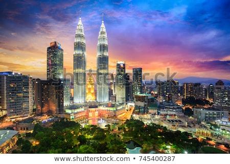 Kuala Lumpur sziluett éjszaka Malajzia város városkép Stock fotó © szefei