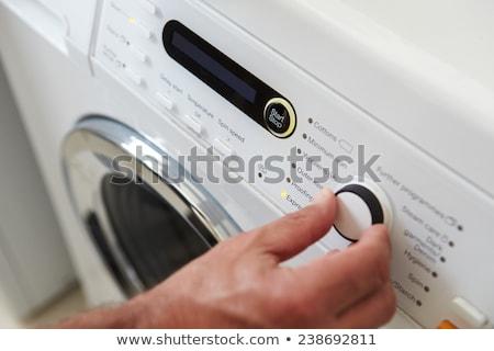 стиральная · машина · белый · воды · работу · фон · машина - Сток-фото © ssuaphoto