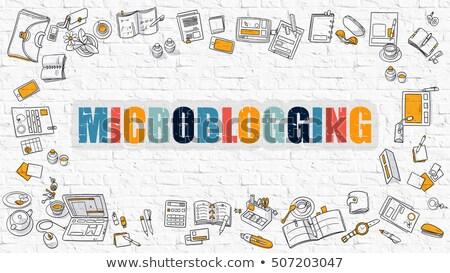Mikroblogolás fehér modern vonal stílus rajzolt Stock fotó © tashatuvango