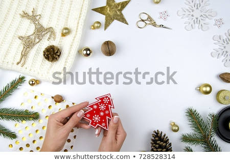 Happy New Year 2018 lettering text. Christmas tree decoration template mockup greeting card Stock photo © orensila