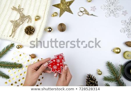 ストックフォト: Happy New Year 2018 Lettering Text Christmas Tree Decoration Template Mockup Greeting Card