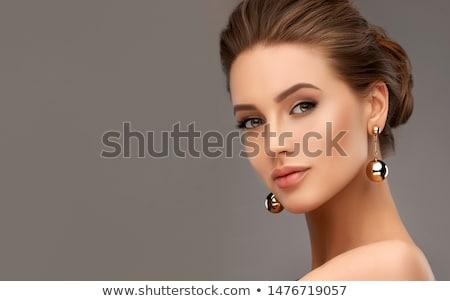 Foto stock: Mulher · mulher · jovem · branco · parede · mão