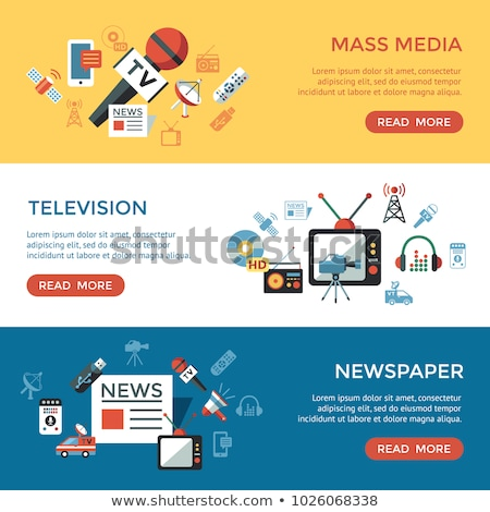 Stock photo: Digital mass media objects color simple flat