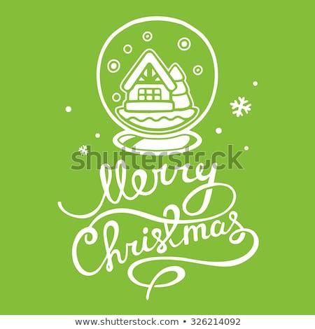 Stock fotó: Vektor · vidám · karácsony · ünnep · illusztráció · tipográfiai