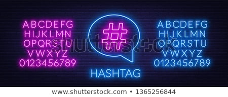 Stock photo: Hashtag Neon Sign
