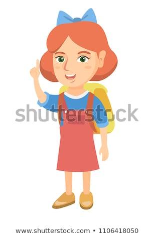 Foto stock: Mulher · dedo · para · cima · quadro · atraente · mulher · jovem