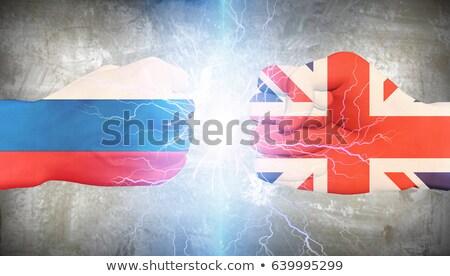 Grande-bretagne Russie conflit deux carré drapeaux Photo stock © romvo