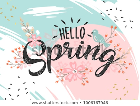 Hello Spring background with beautiful colorful flowers, vector illustration. Stock photo © ikopylov