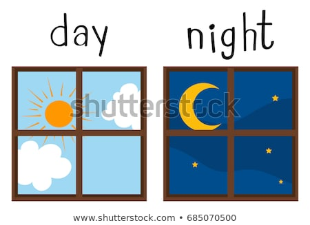 Opposite wordcard for sun and moon Stock photo © bluering