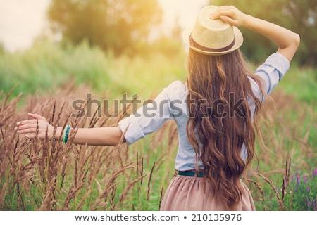 十代の少女 長髪 肖像 女性 笑みを浮かべて 休暇 ストックフォト © IS2