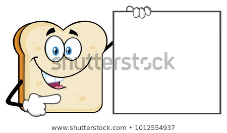 Talking Bread Slice Cartoon Mascot Character Pointing To A Blank Sign Stock photo © hittoon