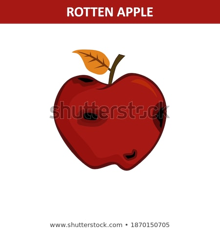 Rotten Red Apple Fruit With Leaf Cartoon Drawing Simple Design Stock photo © hittoon