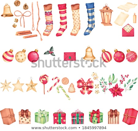 Stok fotoğraf: çorap · kış · kar · taneleri · Noel · hediyeler · vektör