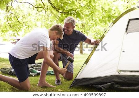 Apa fia felfelé sátor férfi erdő gyermek Stock fotó © IS2