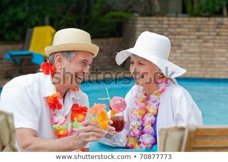 idős · pár · iszik · vörösbor · otthon · konyha · nő - stock fotó © is2