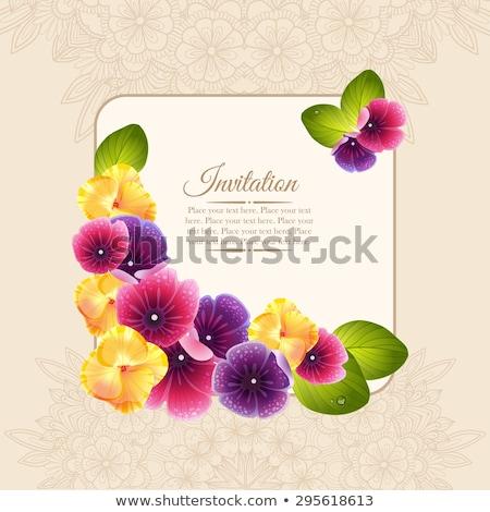 Kare mor romantik vektör çiçek sınır Stok fotoğraf © Pravokrugulnik