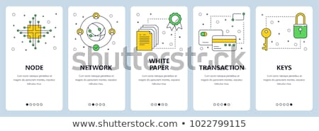 cryptocurrency   set of line design style icons stock photo © decorwithme