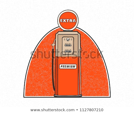 Retro style Gas station pump artwork. Vintage hand drawn design in distressed style. Unique gasoline Stock photo © JeksonGraphics