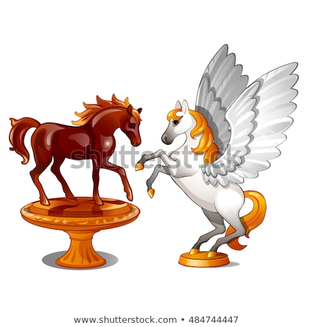 A set of two statues of graceful horses isolated on white background. Vector illustration. Stock photo © Lady-Luck