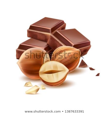 darabok · csokoládé · diók · fa · háttér · asztal - stock fotó © thisboy