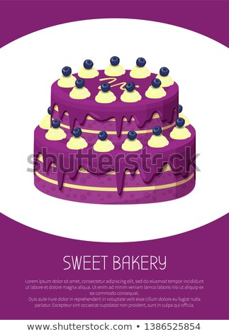 Sweet Bakery Poster Two-Story Cake Covered by Jam Stock photo © robuart