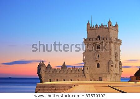 Torre noche Lisboa Portugal ciudad mojón Foto stock © rognar
