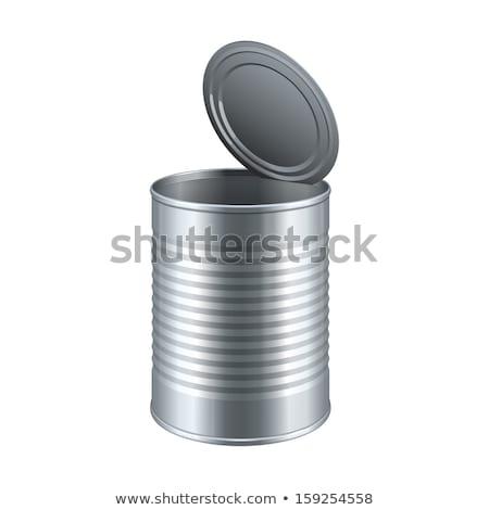 Estanho abrir vazio isolado metal armazenar Foto stock © popaukropa