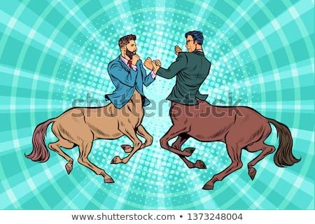 pop art Two centaur businessmen fighting Stock photo © studiostoks