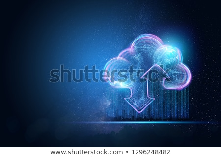 Secured cloud concept with businessman and tablet Stock photo © ra2studio