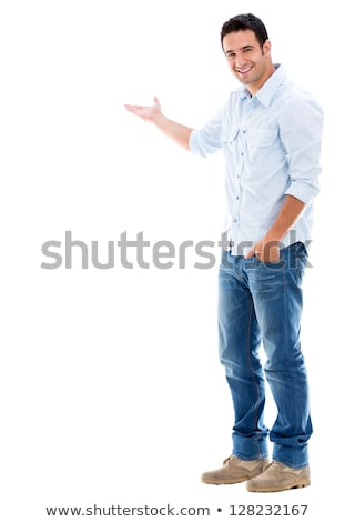 happy casual man welcoming on white background stock photo © feedough