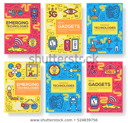 Technology vector brochure cards thin line set. Automation  template of flyear, magazines, posters,  Stock photo © Linetale