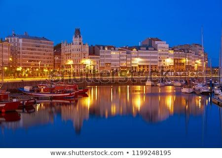 La zonsondergang haven jachthaven galicië Spanje Stockfoto © lunamarina