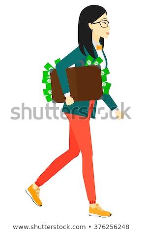 iş · kadını · yürüyüş · durum · bilgisayar · omuz · çalışmak - stok fotoğraf © deandrobot