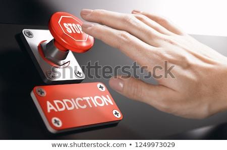 popychanie · panika · przycisk · osoby · naciśnij · duży - zdjęcia stock © olivier_le_moal
