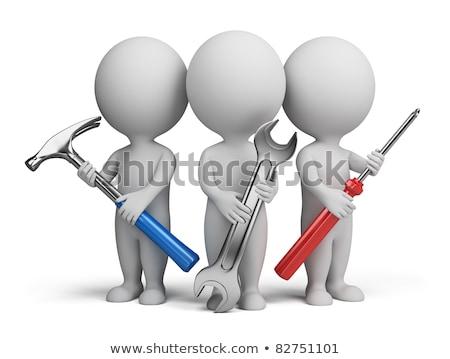 3d pessoas três chave inglesa martelo carro Foto stock © AlexMas