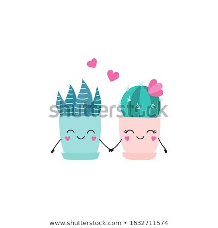 Cute cartoon trois fleur heureux Photo stock © zsooofija