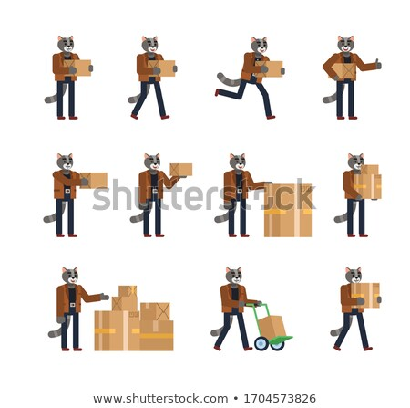 Cartoon Smiling Mail Carrier Kitten Stock photo © cthoman