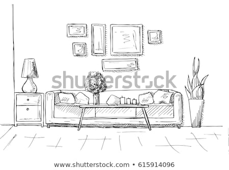 Stock foto: Linear · Skizze · Innenraum · Hand · gezeichnet · Stil · Tabelle