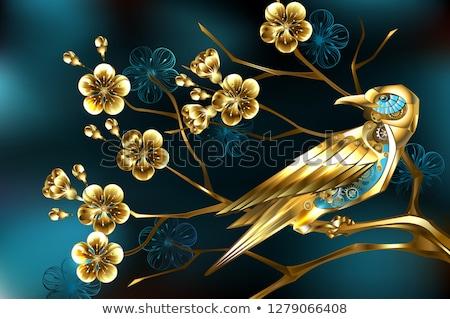 Steampunk vogel sakura gouden goud versnellingen Stockfoto © blackmoon979