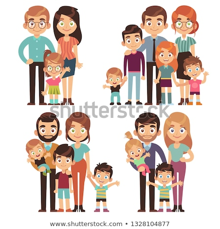 family mother and father set vector illustration stock photo © robuart