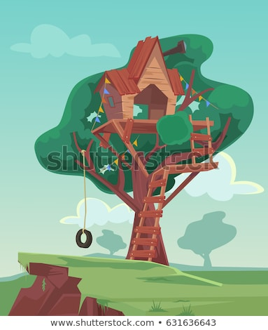tree house vector children playground house on tree wooden cabin for kids isolated flat cartoon stock photo © pikepicture