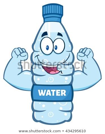cartoon illustation of a water plastic bottle mascot character stock photo © hittoon