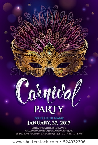 Karnaval poster afiş altın maske Stok fotoğraf © MarySan