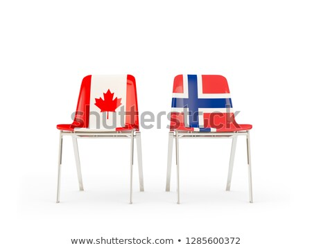 Photo stock: Two Chairs With Flags Of Canada And Norway Isolated On White